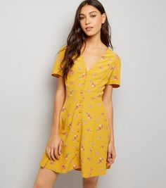 Orange Ditsy Floral Print Button Front Dress  | New Look