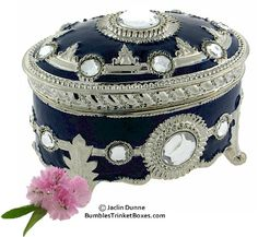 Trinket Box: Musical Blue Enameled Oval Box