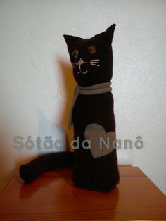 gato - reclicagem de camisola 100% pura lã.