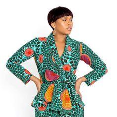 Diola African Print Peplum Blazer (Aqua Circles)