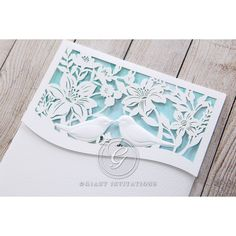 Blue Lasercut pocket with Love Birds - Wedding invitation - 2