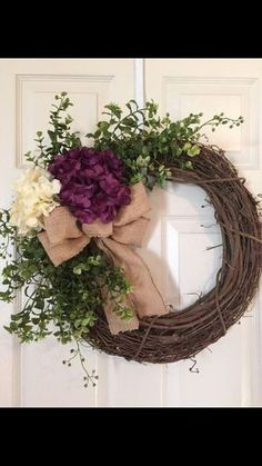 HYDRANGEA WREATH, created on a Grapevine Wreath with 2 Large Hydrangeas, Artificial Greenery, accent flowers and Burlap Bow. Per convo! Boxwood Wreath, Hydrangea Wreath, Grapevine Wreath, Wreath Crafts, Diy Wreath, Wreath Burlap, Wreath Ideas, Burlap Bows, Diy Crafts
