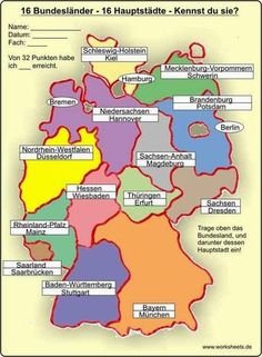16 Hauptstädte – 16 federal states of Germany – Lehrreich - Bildung States And Capitals, Learn German, German Grammar, German Language Learning, 3rd Grade Math, Elementary Science, Family History, Good To Know, Virginia