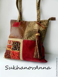 """Сумка """"Леопардовая геометрия"""" - комбинированная сумка,сумка авоська,сумка кожаная"""