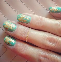 My turquoise and gold nails by Stephanie Stone @stephstoneart http://blog.reneerouleau.com/