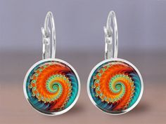 Earrings Jewelry  12mm Fractal 8 Design  by MaDGreenCreations