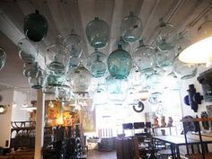 glass bottles from the ceiling!  --- on a NC buying trip