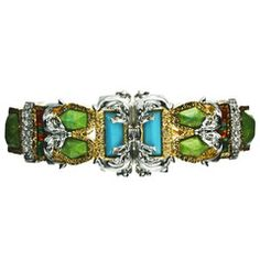 "Pave Accented Gold Small Baroque Hinge Bracelet  by Alexis Bittar    Silver-plated & 18kt gold-plated  Green turquoise, turquoise, colored crystals  Width 1""  Diameter 2.5""  Open cuff, Hinged  	 $325.00"