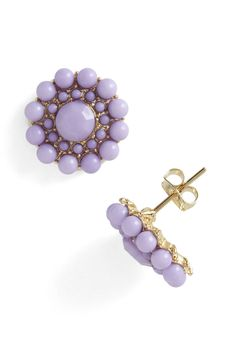 My Own Rendition Earrings in Lavender - Purple, Gold, Solid, Beads, Pastel, Daytime Party