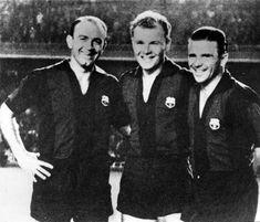 31 de agosto de 1961. Di Stéfano, Kubala y Puskas posando antes de un partido homenaje al exazulgrana Kubala, Barcelona - Stade de Reims. Los tres jugadores, en una curiosa imagen, aparecen con la camiseta del Barcelona.