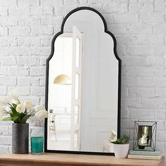 Our Maria Metal Black Arch Wall Mirror will make your home look stunning. The rustic frame and unique design will make this the centerpiece of any room. Spiegel Design, How To Clean Mirrors, Arch Mirror, Foyer Mirror, Rustic Frames, Of Wallpaper, Home Look, Master Bathroom, Bathroom Black