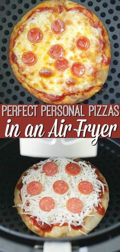 Pizzas personales perfectas en una freidora de aire - Air Fryer Recipes & Tips - Air Fryer Recipes Potatoes, Air Fryer Oven Recipes, Air Fryer Dinner Recipes, Air Fryer Chicken Recipes, Air Fryer Recipes Breakfast, Air Fryer Recipes Grilled Cheese, Nuwave Oven Recipes, Air Fryer Recipes Vegetables, Air Fryer Fried Chicken