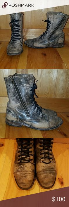 Bed Stu Free People distressed combat boots Rustic combat boots. Black and brown. Lace up with zippers on both sides of boot Bed Stu Shoes Lace Up Boots