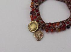 Sugar Skull Bracelet - Crochet Bracelet - Day of the Dead - 3 Wrap Bracelet - Boho Chic - Bohemian Jewelry - Bronze Charm