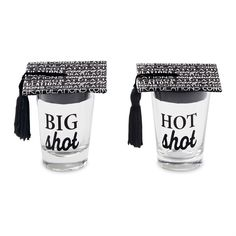 2 styles. 'BIG shot' and 'HOT shot' shot glasses arrive with printed cardboard grad cap and tassel toppers.