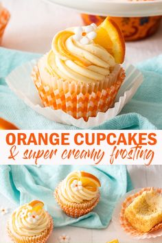 Fresh orange juice and zest in the batter gives these beautiful Orange Cupcakes a sweet, aromatic orange zing. The unbelievably creamy orange buttercream, both infused and spiked with orange zest are truly the icing on the cake. Köstliche Desserts, Delicious Desserts, Dessert Recipes, Yummy Food, Plated Desserts, French Desserts, Orange Buttercream, Buttercream Cupcakes, Mini Cakes