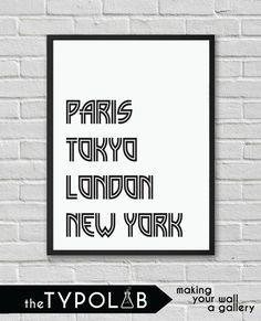 Typography Poster Art Print/Paris Tokyo London New by theTypolab Typography Poster, Tokyo, London, Paris, Art Prints, How To Make, Art Impressions, Montmartre Paris, Tokyo Japan