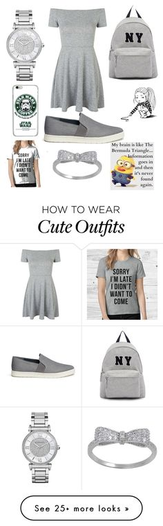 """high school outfit"" by angel7194 on Polyvore featuring Vince, Topshop, Joshua's, Michael Kors, women's clothing, women, female, woman, misses and juniors"