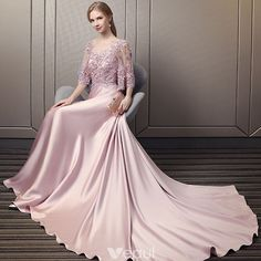 Modern / Fashion Candy Pink Pierced Evening Dresses 2018 A-Line / Princess Scoop Neck Sleeves Appliques Lace Sequins Beading Cathedral Train Ruffle Backless Formal Dresses Modern / Fashion Candy Pink Pierced Evening Dresses 2018 A-Line / Princess Scoo Glamorous Evening Dresses, Grey Evening Dresses, Burgundy Evening Dress, Evening Gowns, Formal Dresses, Pretty Dresses, Beautiful Dresses, Kebaya Modern Dress, Malay Wedding Dress