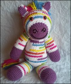 Riley the Rainbow Zebra Crochet Pattern - Available on Ravelry, Craftsy, and Etsy.