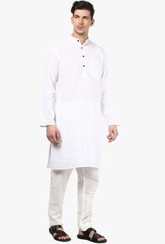 Abhiyuthan White Cotton Striped Long Kurta