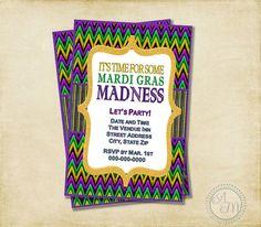 Mardi Gras Party Invitation Purple Gold by AshleyMartinDesigns, $9.00