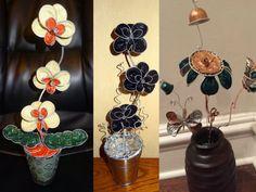 centros de mesa de flores con cápsulas de café nespresso