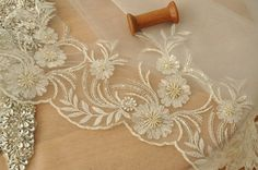 Beaded Lace Trim in Ivory Champagne , Bridal Veil Lace Trim for wedding , veils, headbands, garters