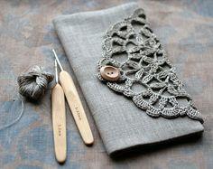 Linen Crochet Clutch