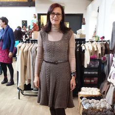 Susan has knitted the Icon Dress by Purl Alpaca Designs in Alpaca Rain and it looks so good on her!