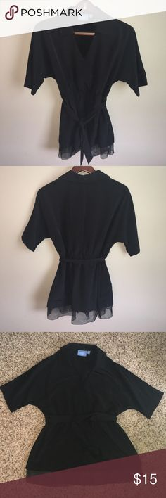 Simply Vera | Black Robe Style Top Black robe-style top with v neck collar, elastic waist, sheer hem detail and adjustable waist tie. In excellent condition. Bust has three velcro closures. Care Label is missing but I would guess this to be hand-wash only polyester. Size medium, measurements in photos. Simply Vera Vera Wang Tops Blouses