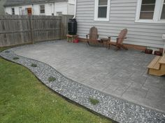 House Tour   Off Boulevard poured concrete patio (stamped concrete)