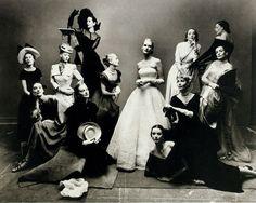 The twelve most photographed models of 1947 by Irving Penn  Meg Mundy, Marilyn Ambrose, Helen Bennett, Dana Jenney, Betty McLauchlen (on ladder), Lisa Fonssagrives, Lily Carlson, Dorian Leigh (on floor), Andrea Johnson (seated), Elisabeth Gibbons, Muriel Maxwell (in black) and Kay Hernan