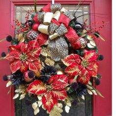 Leopard Christmas wreath. LOVE this, only trade out the red for purple. =)