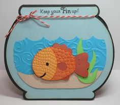 Bug Lover Cards: Furry Friends - Keep your Fin Up Thank You Cards From Kids, Kids Cards, Baby Cards, Kids Punch, Create A Critter, Pun Card, Shaped Cards, Cricut Cards, Get Well Cards