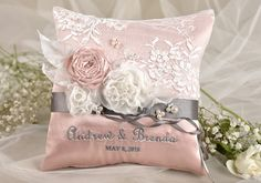 Lace Wedding Pillow,  Ring Bearer Pillow Embroidery Names, Peach Satin, Lace Grey ribbon on Etsy, $50.74 CAD