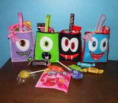 In The Hoop Monster Treat Bags Embroidery Machine Design Set. $5.49, via Etsy.