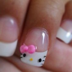 Hello Kitty French Tip Nail