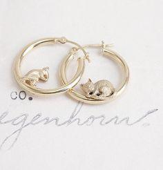 Vintage Cat and Mouse Hoop Earrings, $425.00