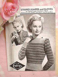 Vintage 40s Knitting Pattern Lady s Striped Jumper & Gloves 34-36  Bust  NO P&P!