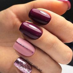 Winter nails burgundy pink gel glitter nail designs with - arttonail - Health smoothies to lose weight detox diet - glitter nails summer Glitter Gel Nails, Nail Manicure, Nail Polish, Manicure Ideas, Shellac Pedicure, Pink Gel Nails, Manicure Colors, Fall Nail Colors, Dark Nails With Glitter