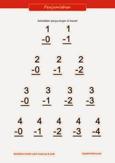 Belajar Anak Paud Kelas 1 Sd Matematika Penjumlahan Bilangan Angka 1 10 Belajar Anak Pinterest