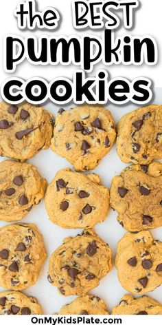 These are the best-ever Pumpkin Chocolate Chip Cookies! These yummy cookies are soft, melt in your mouth cookies that are perfect for fall! full of cozy cinnamon and nutmeg, you'll love this easy recipe. #pumpkin #pumpkin cookies #chocolatechip #cookies #dessert #easyrecipe #falldessert