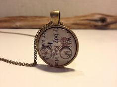 Vintage bicycle  necklace.  Bicycle glass pendant.