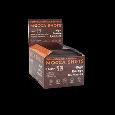 Mocca Shots Salted Caramel Chocolate Caffeine Gummy 12-pack - Coffee vs Tea Chocolate Shots, Salted Caramel Chocolate, Chocolate Caramels, Macha Tea, Coffee Vs Tea, Premium Coffee, Vitamin B Complex, High Energy, Caffeine