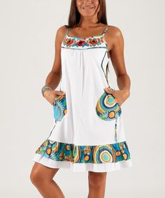 Look at this White & Blue Embroidered Shift Dress - Women on #zulily today!