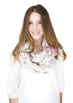 WHITE PINK KNIT rose pink knit infinity scarf rose by gertiebaxter, $44.50