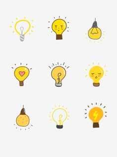 bulb cartoon drawing yellow hand easy drawn drawings draw painted simple bulbs emoji element hands bullet clipart pngtree doodles journal