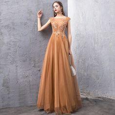 65369f160 Elegante Oro Vestidos de noche 2019 A-Line   Princess Transparentes Escote  Cuadrado Sin Mangas