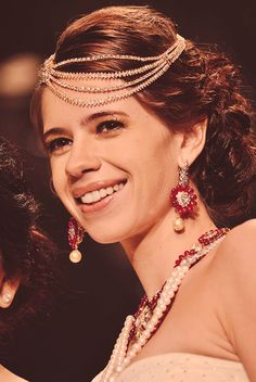 kalki koechlin | wearing gorgeous pearls and ruby floral jewelry, chain headpiece